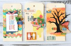 HOW TO: Altered Tags - by Leah Farquharson using the Amy Tangerine Ready Set Go collection from American Crafts. #amytangerine #scrapbooking #autumn