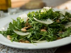 Arugula Salad with White Truffle Oil, Marcona Almonds and Shaved Parmesan : Recipes : Cooking Channel Picnic Side Dishes, Side Dishes For Bbq, Summer Side Dishes, Side Dish Recipes, Recipes Dinner, Yummy Recipes, Recipies, White Truffle, Truffle Oil