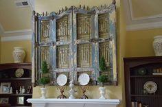 antique shutter wall art... woa!
