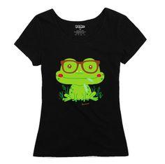 2014 Women's 100% Cotton Cartoon Frog Print  T-shirt Ladies Slim Short-Sleeve T-shirt Girl's Basic Pattern Tee Free Shipping F $15.65