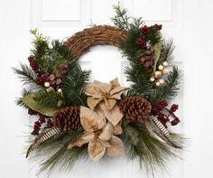 "Natural Poinsettia & Pinecone Twig Wreath, (20"") at Big Lots."