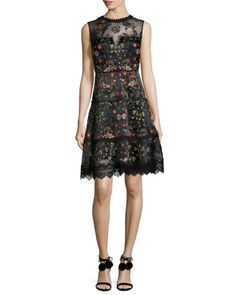 Maritza Sleeveless Floral-Embroidered Satin Dress, Black Multi by Elie Tahari at Neiman Marcus.