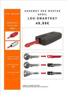 HIT des Monats! LEO-Smartkey jetzt unschlagbar günstig statt 69,99€ nur 49,99€ mit Anfertigung der Schlüssel statt 9,99€ pro Stück bei uns nur 6,99€ Wechselgehäuse in knalligem Rot oder Weiß!