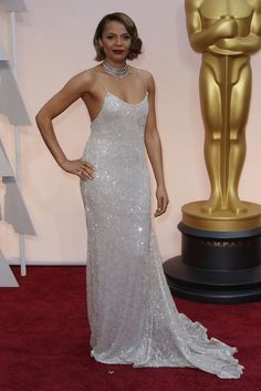 Carmen Ejogo sizzles in a dress from Houghton Bride's Spring / Summer 2015 Collection at Oscars 2015...