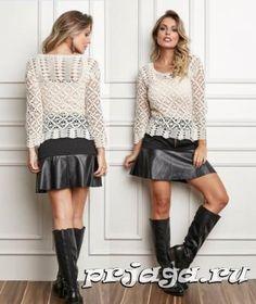 Summer openwork crochet blouse