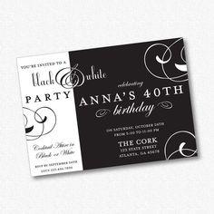 black & white erwachsenen party einladung von simplysweetprintshop, Einladung