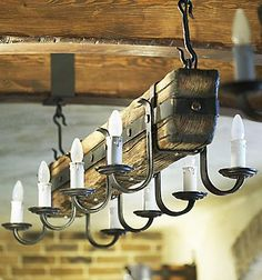 A hand-crafted commercial stylish 4 light that is sure to add a genuinely captivating accent to any Custom Lighting, Unique Lighting, Lighting Design, Room Lights, Hanging Lights, I Like Lamp, Country Kitchen Cabinets, Rustic Light Fixtures, Wooden Lamp