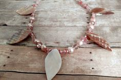 Pink shell necklace  statement necklace  beach theme jewelry