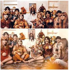 Jane Asher, Paul McCartney, John and Cynthia Lennon, Maharshi Yogi, Pattie Boyd, George Harrison, Ringo Starr and Jenny Boyd in India, 1968