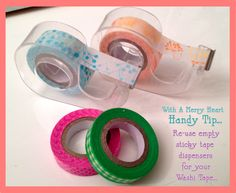 Re-use empty sticky tape dispensers for your Washi Tape. Get cute #washi tape here: www.washitapes.nl