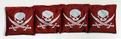 4 Red Skull and Crossbones Cornhole Bags