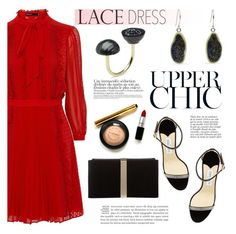 """""""Pretty Lace Dress"""" by littlehjewelry ❤ liked on Polyvore featuring Jimmy Choo, Pearl & Black, Roger Vivier, Anja, women's clothing, women's fashion, women, female, woman and misses"""