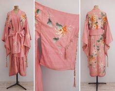 Vintage 1920s blush pink silk kimono with an amazing floral embroidery in pink, cream, orange and pale green hues. Sleeves have a beautiful