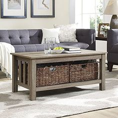 WE Furniture 40 Wood Storage Coffee Table with Totes  Driftwood 40 * More info could be found at the image url.