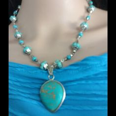 Price drop 925 sterling silver turquoise necklace This is a beautiful necklace created by the popular artist Pamela May,It is a 925 sterling silver turquoise pendant and turquoise beads. It measures 19 inches long.The earrings are 2.25 inches long.Check back to see the many necklaces not listed. Pamela May Collection Jewelry Necklaces