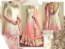 Pink White Anarkali Kameez Salwar Suit Embroidery Indian Pakistani Party Dress