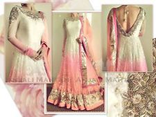 Pink White Anarkali Kameez Salwar Suit Embroidery Indian Pakistani Party Dress