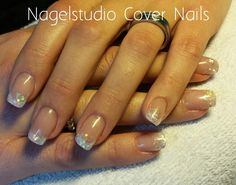 #Acrylic #nails #glitter #fading #decal #white #frenchmanicure #love #bride #nails