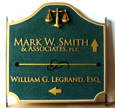 A10168A - Law Office Wayfinding Sign, for Two Offices, with Scales of Justice