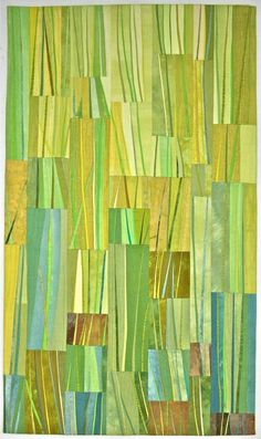 """New Growth,"" 21x36""; Artist-dyed cotton, commercial silk, and cotton batting; Machine pieced and machine quilted - Margarete.Steinhauer"