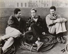 "onlybrando: Marlon Brando on the set of ""On The Waterfront "" Circa 1954."