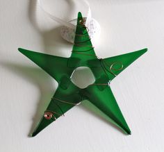Enchanted Forest Green Red Glass Star by conwaysstainedglass