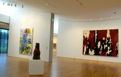 """Installation view at top of landing with Still abstraction Joan MItchell's """"Before, Again IV"""" and Peter Voulkos stoneware sculpture """"Untitled Stack"""" that elevated ceramics to high art Clyfford Still, New York School, Postwar, Joan Mitchell, New Museum, High Art, American Art, Art History, Landing"""
