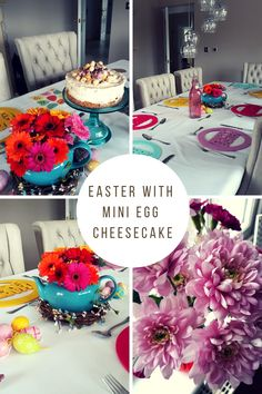 Spring flower fresh table and Mini Egg no bake cheesecake Mini Eggs, No Bake Cheesecake, Spring Flowers, Easter, Fresh, Table Decorations, Furniture, Home Decor, Home Furnishings