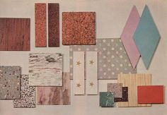 """From the publication Kitchen Ideas for 1959: """"Practical flooring offers variety, beauty"""". Give me those pink and turquoise harlequin diamond tiles immediately!!!!"""