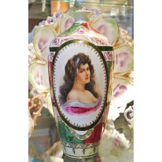 Royal Vienna Vase Austria Beehive Mark Portrait Antique Porcelain Hand Painted Art Nouveau Victorian Austrian Vase Circa Late 1890s Prussian ($499) found on Polyvore featuring home and home decor