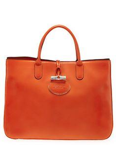 "...Longchamp ""Roseau Heritage"" Leather Satchel"