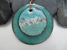 Aqua Ocean Medallion Copper Enamel Pendant Jewelry by Gasquetgirl