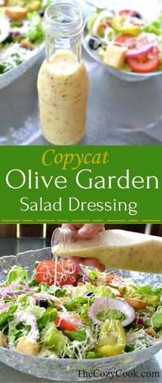 This homemade copycat Olive Garden Salad Dressing is the perfect b . - This homemade copycat Olive Garden Salad Dressing is the perfect b … – Yummy! Salada Do Olive Garden, Olive Garden Salad, Olive Garden Recipes, Olive Salad, Olive Garden Italian Dressing, Italian Garden, Italian Dressing Packet Recipe, Copycat Olive Garden Dressing Recipe, Vegan Olive Garden