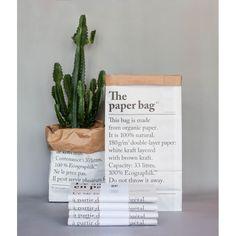 Le sac en papier be-pole deco design cache pot cactus grand sac rangement kraft imprimé noir sur blanc