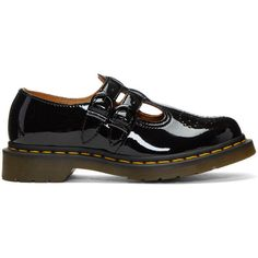 Dr. Martens Black Patent 8065 Mary-Jane Oxfords ($120) ❤ liked on Polyvore featuring shoes, oxfords, black, patent leather shoes, dr martens oxford, black patent shoes, black shoes and oxford shoes