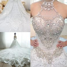 Discount Custom Made 2015 Luxurious Wedding Dresses High Neck Beaded Crystal Lace Wedding Dresses A Line Plus Size Cathedral Wedding Gowns Wedding Dresses Fashion Wedding Dresses In Lace From Promotionspace, $481.45| Dhgate.Com