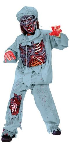 Zombie Evil Corpse Surgeon Doctor Boys Kids Halloween Fancy Dress Costume MASK