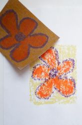 Sandpaper Transfer Art using sandpaper, sketch paper, crayons, and an iron