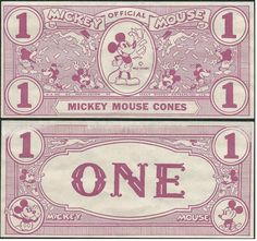 Vintage Disney, Mickey Mouse $1 dollar cone...red..Kay Kamen.  Play Money Rare