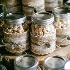 Popcorn Mason Jar Wedding Favors.