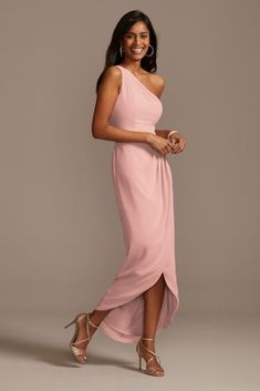 Asymmetrical Bridesmaid Dress, Davids Bridal Bridesmaid Dresses, Bridesmaid Dress Styles, Bridesmaids, High Low Bridesmaid Dresses, Mother Of The Bride Fashion, Mother Of Bride Outfits, Summer Mother Of The Bride Dresses, Classy Wedding Guest Dresses