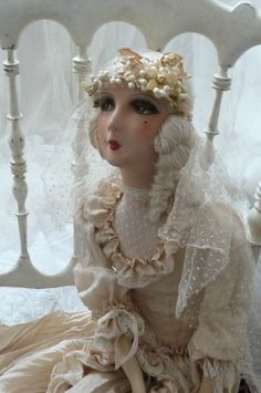 ANIQUE FRENCH BOUDOIR DOLL.PARIS.EDWARDIAN WEDDING.SILK.LACE.WAX.C 1920 (I really love this one!)
