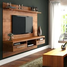 On the wall tv cabinet cabinet design living room designs para led wall unit for stand Living Room Tv Unit, Wall Mounted Tv Unit, Room Design, Tv Wall Design, Tv Unit Interior Design, Tv Unit Design, Living Design, Living Room Designs, Living Room Tv