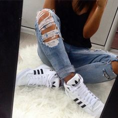 sneakers and pearls, ripped jeans with white adidas high tops , trending now