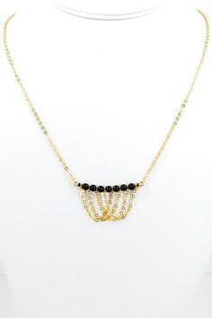 NouveauTique Mystic Falls Black Swarovski Pearl and Chain Necklace