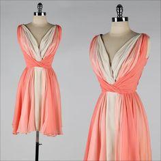 vintage 1960s dress . Lilli Diamond . peach by millstreetvintage, $185.00