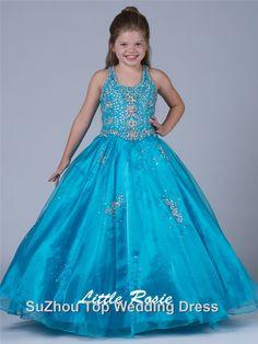 Most Popular Spaghetti Flower Girl Dress Floor-Length Shine Crystal Beads Taffeta Gorgeous Little Girl Pageant Dress #Y012436