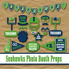 Printable Seattle Seahawks SuperBowl Photo Booth Props and Party Decorations - Over 35 Images in Jpeg PDF and PNG Formats - INSTaNT DOWNLoAD...
