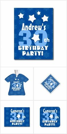 BIRTHDAY Stars Blue and White 30th or Any Age