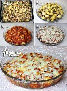 Fırında Kaşarlı Patlıcan Yemeği Tarifi. 3adet orta boy patlıcan,2 adet orta boy patates,4 yemek kaşığı sıvı yağ,Tuz.  Domates sosu için;  2 adet orta boy domates,1 adet orta boy kuru soğan,2-3 diş sarımsak,1 yemek kaşığı salça,Sıvı yağ,Tuz,Kekik.  Üzeri için;  Yarım çay bardağı sıcak su,1 su bardağı rendelenmiş kaşar.